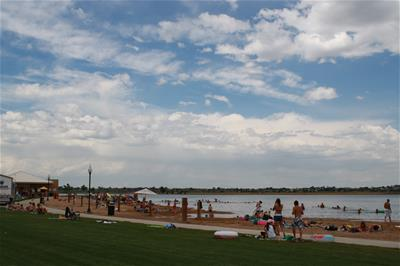 People Hanging out at Windsor Lake Swim Beach