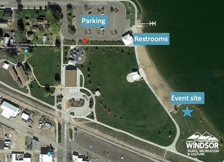 Map of Parking, Restrooms, and Yappy Hours Event Site